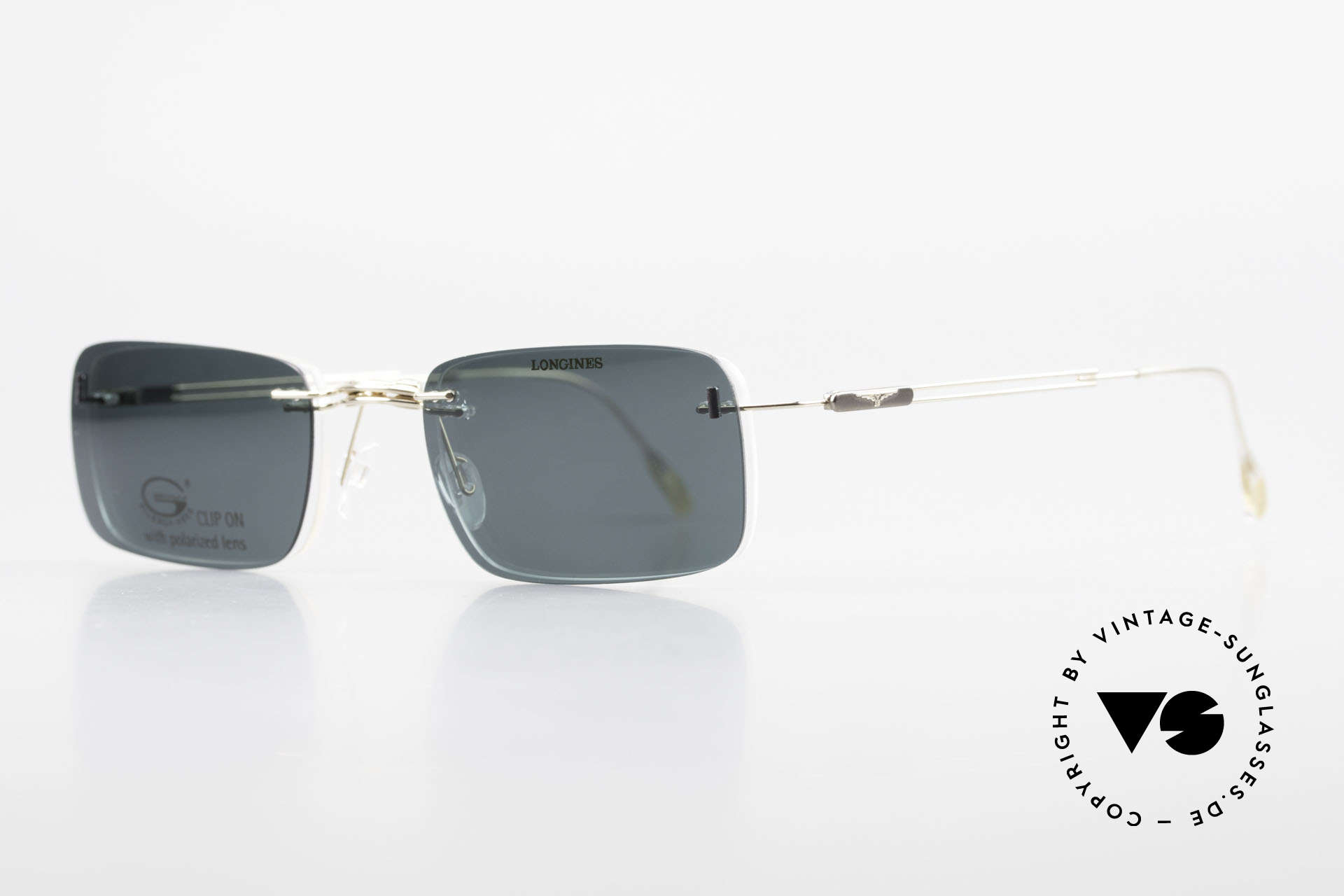 Longines 4367 Polarized Glasses Rimless 90s, Longines logo, the winged hourglass, on the temples, Made for Men