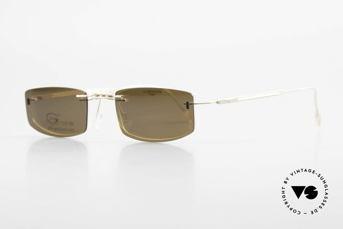 Longines 4378 Polarized Rimless Eyeglasses, Longines logo, the winged hourglass, on the temples, Made for Men and Women