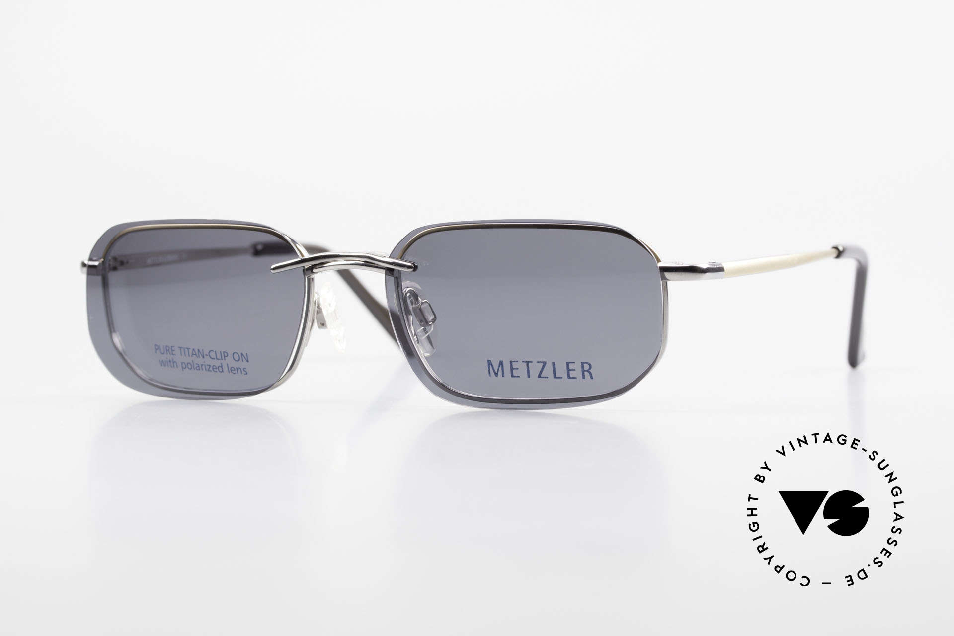 Metzler 1716 Titanium Frame Polarized Clip, 90's Metzler Titan glasses, 1716, col 023, 52/19, 135, Made for Men