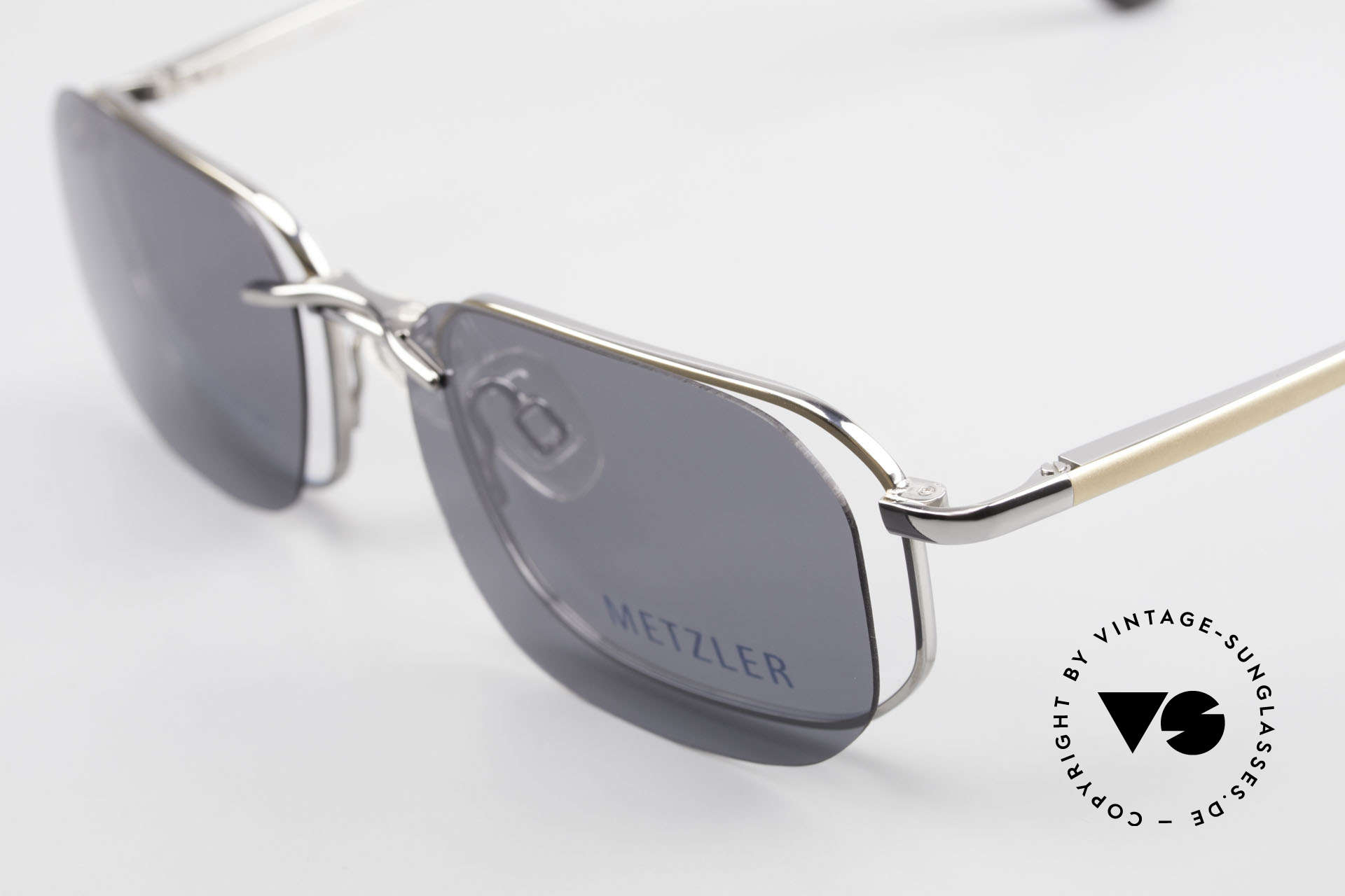 Metzler 1716 Titanium Frame Polarized Clip, old 'made in Germany' original with magnetic Sun-Clip, Made for Men