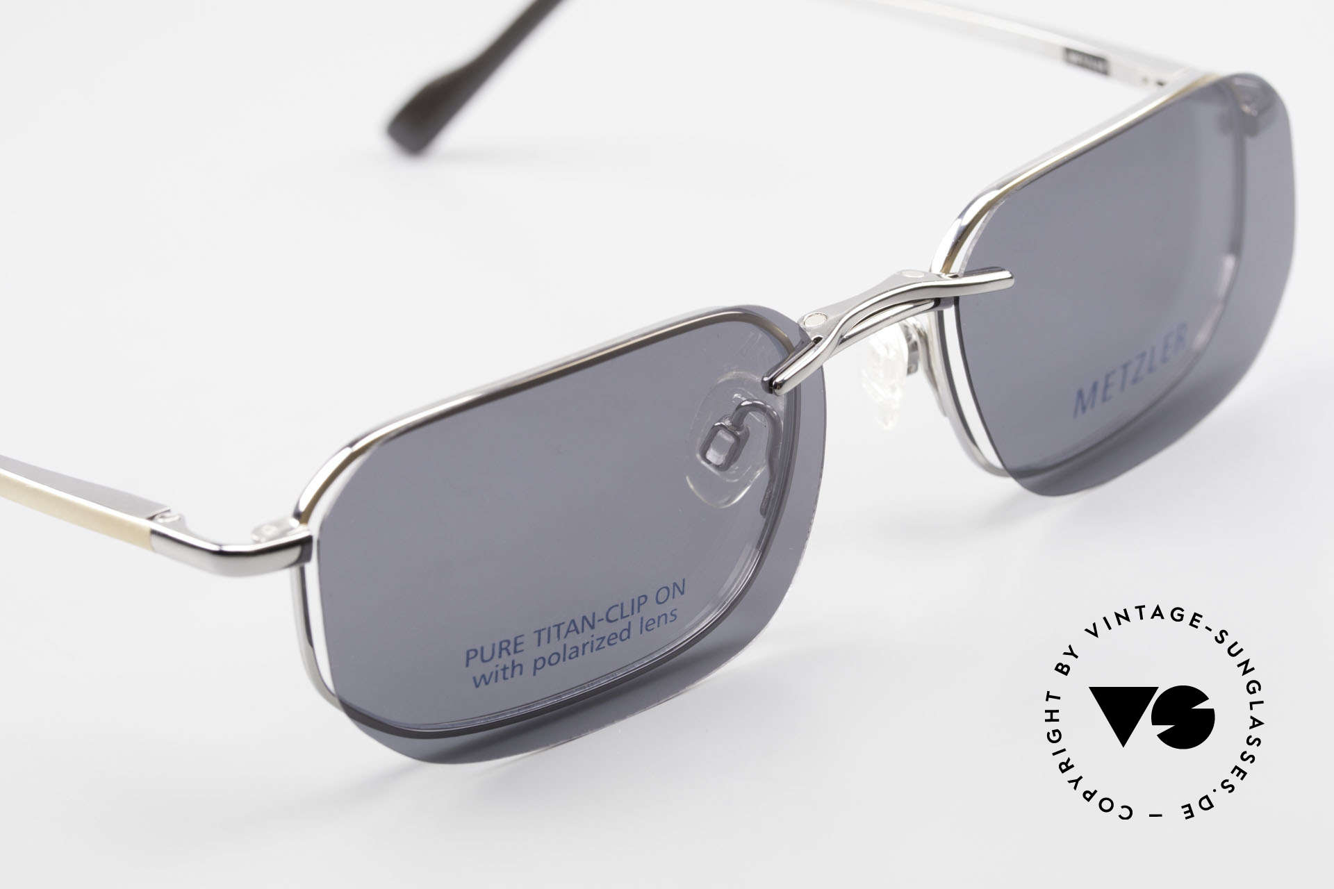 Metzler 1716 Titanium Frame Polarized Clip, never worn (like all our 90's men's Metzler sunglasses), Made for Men