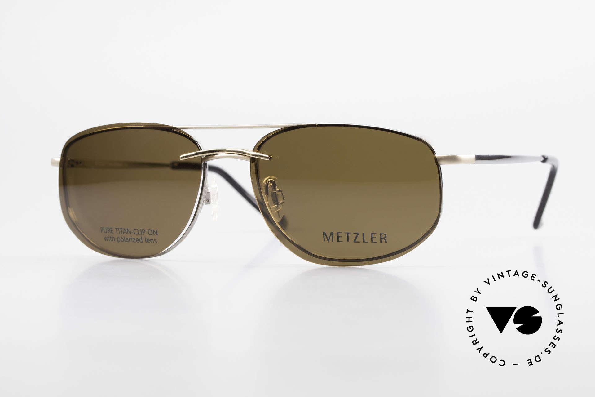 Metzler 1715 Titanium Specs Polarized Clip, Metzler 90's Titan glasses, 1715, col 023, 58/18, 140, Made for Men