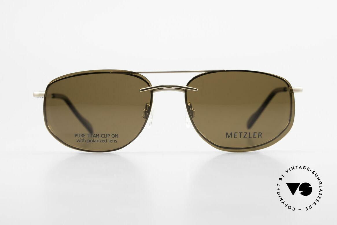 Metzler 1715 Titanium Specs Polarized Clip, leightweight titan frame with flexible spring hinges, Made for Men