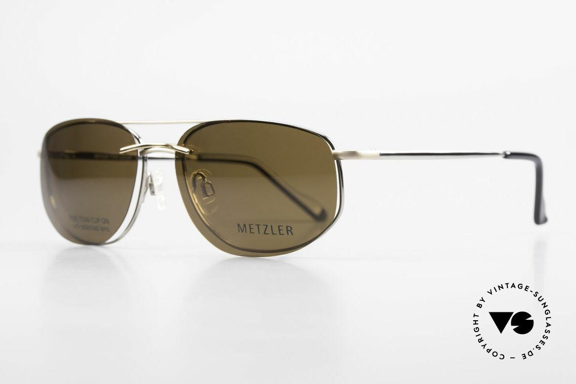 Metzler 1715 Titanium Specs Polarized Clip, Clip-On with brown polarized lenses; 100% UV protect., Made for Men