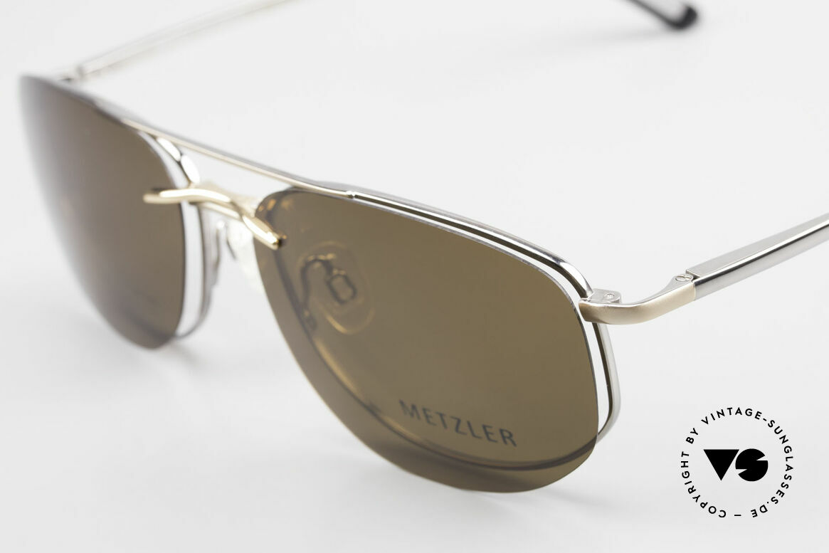 Metzler 1715 Titanium Specs Polarized Clip, old 'made in Germany' original with magnetic Sun-Clip, Made for Men