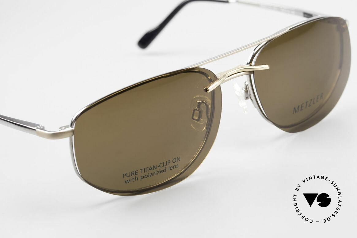 Metzler 1715 Titanium Specs Polarized Clip, never worn (like all our 90's men's Metzler sunglasses), Made for Men