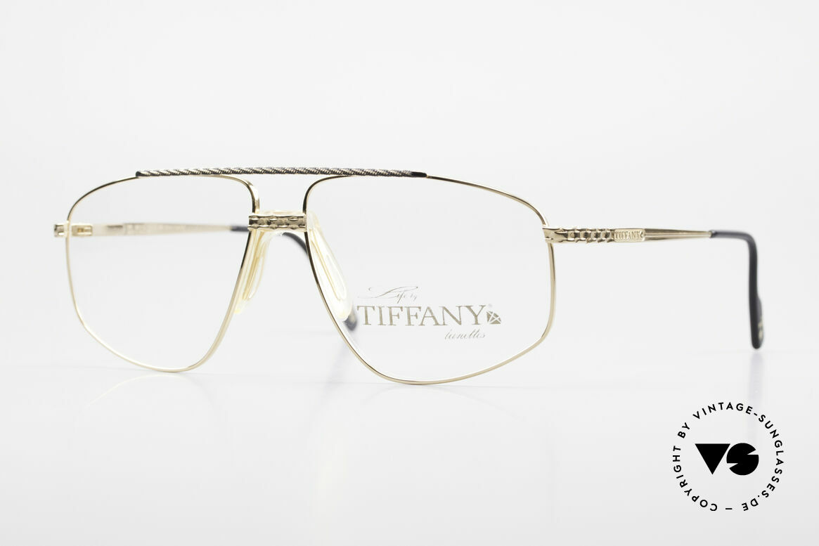 Tiffany T89 23kt Gold Plated Aviator Frame, Tiffany vintage 90's glasses, Mod. T89, Gold-Plated, Made for Men