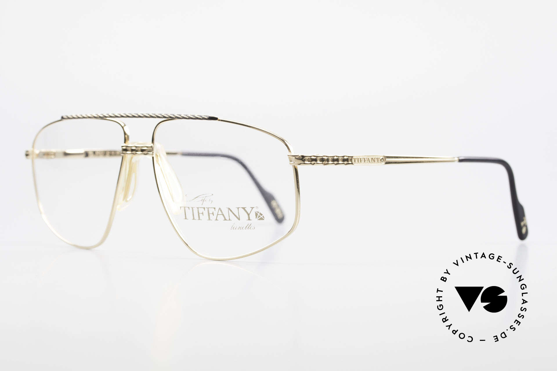 Tiffany T89 23kt Gold Plated Aviator Frame, men's aviator eyeglasses with spring hinges, size 60/13, Made for Men