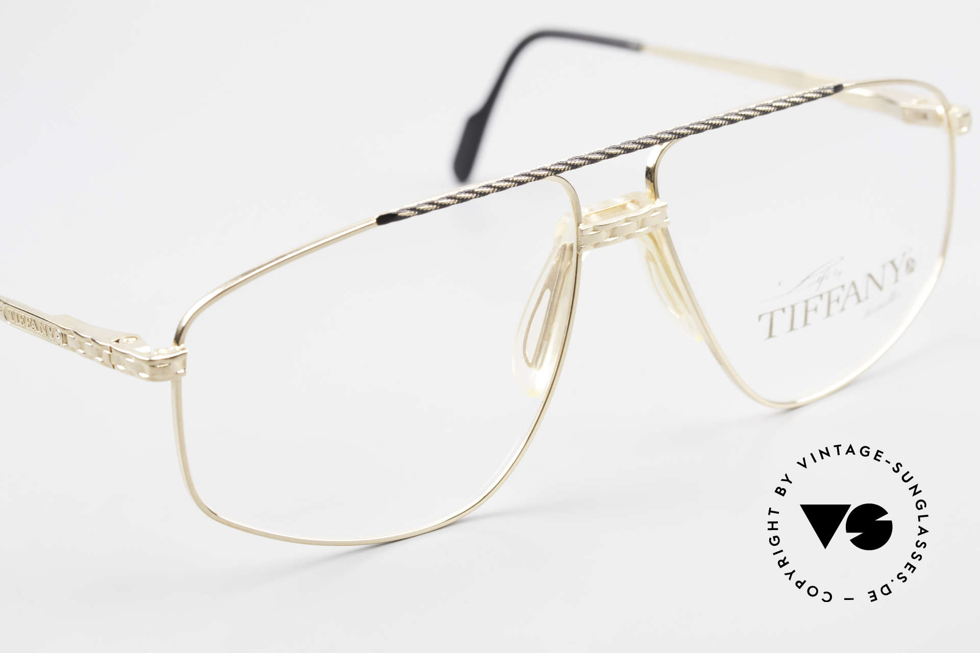 Tiffany T89 23kt Gold Plated Aviator Frame, new old stock (like all our GOLD-PLATED vintage specs), Made for Men