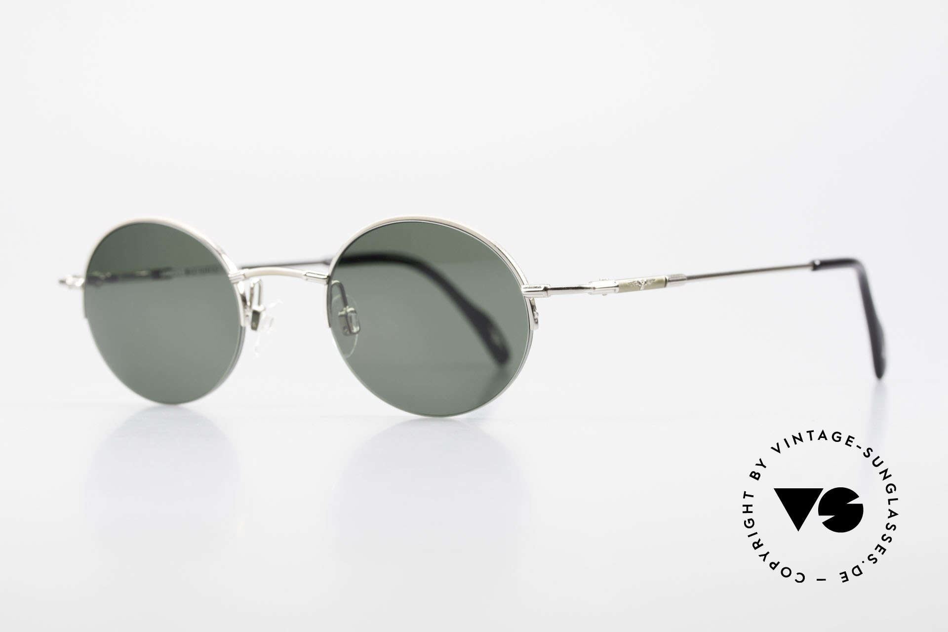 Longines 4363 Round Oval Sunglasses 90's, Longines logo, the winged hourglass, on the temples, Made for Men and Women