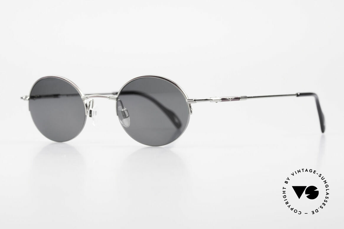 Longines 4363 90's Sunglasses Round Oval, Longines logo, the winged hourglass, on the temples, Made for Men and Women