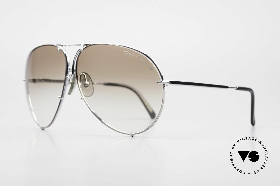 Porsche 5621 80's Sunglass Classic For Men, interchangeable lenses: brown-gradient & solid gray, Made for Men