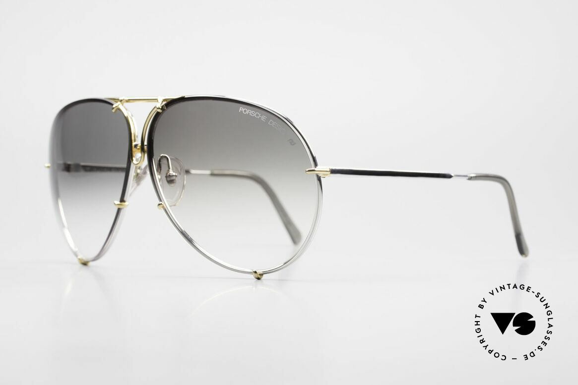 Porsche 5621 Old 80's Bicolor Sunglasses, interchangeable lenses: green/gray-gradient & gray, Made for Men