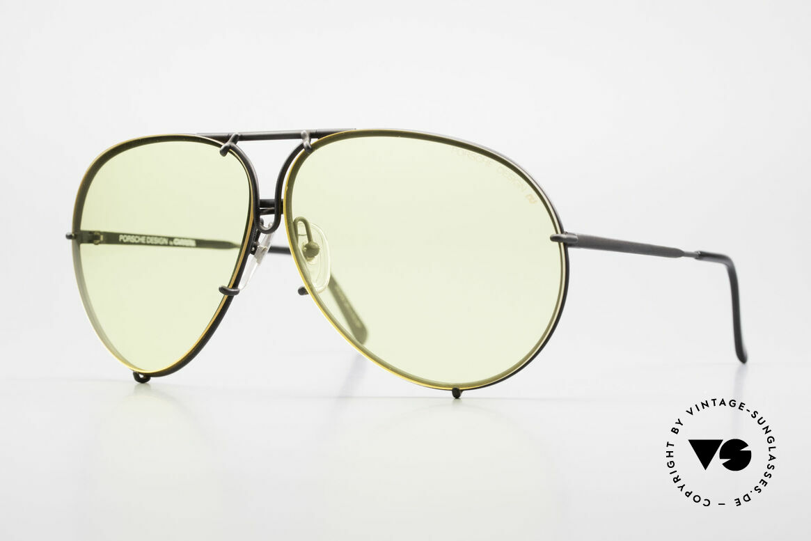 Porsche 5621 Yellow Lenses Kalichrome 80's, old 80's Porsche shades with gray changeable lenses, Made for Men