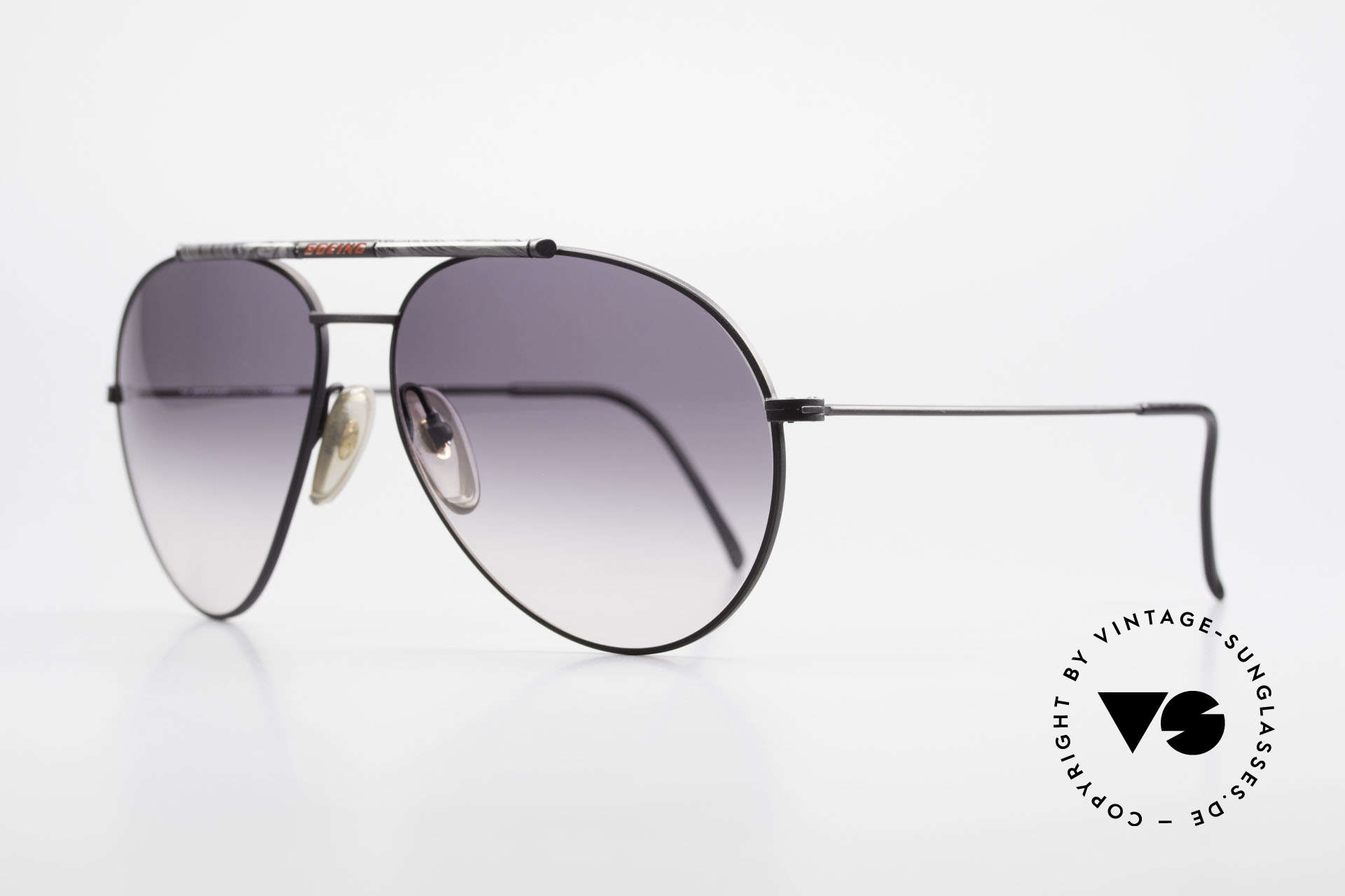 Boeing 5706 Rare 80s Aviator Sunglasses XL, conspicuous bar with the prestigious Boeing label, Made for Men