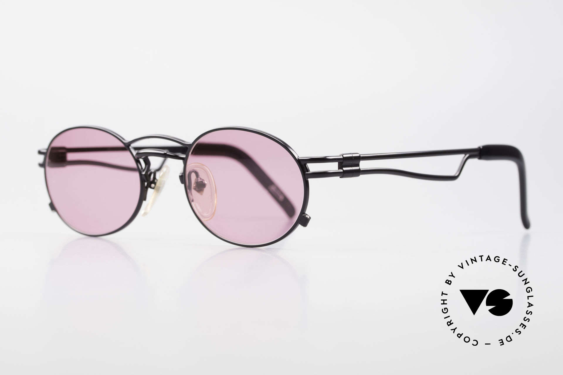 Jean Paul Gaultier 56-3173 Pink Oval Vintage Sunglasses, lightweight metal, ergonomic arms; made in Japan, Made for Men and Women