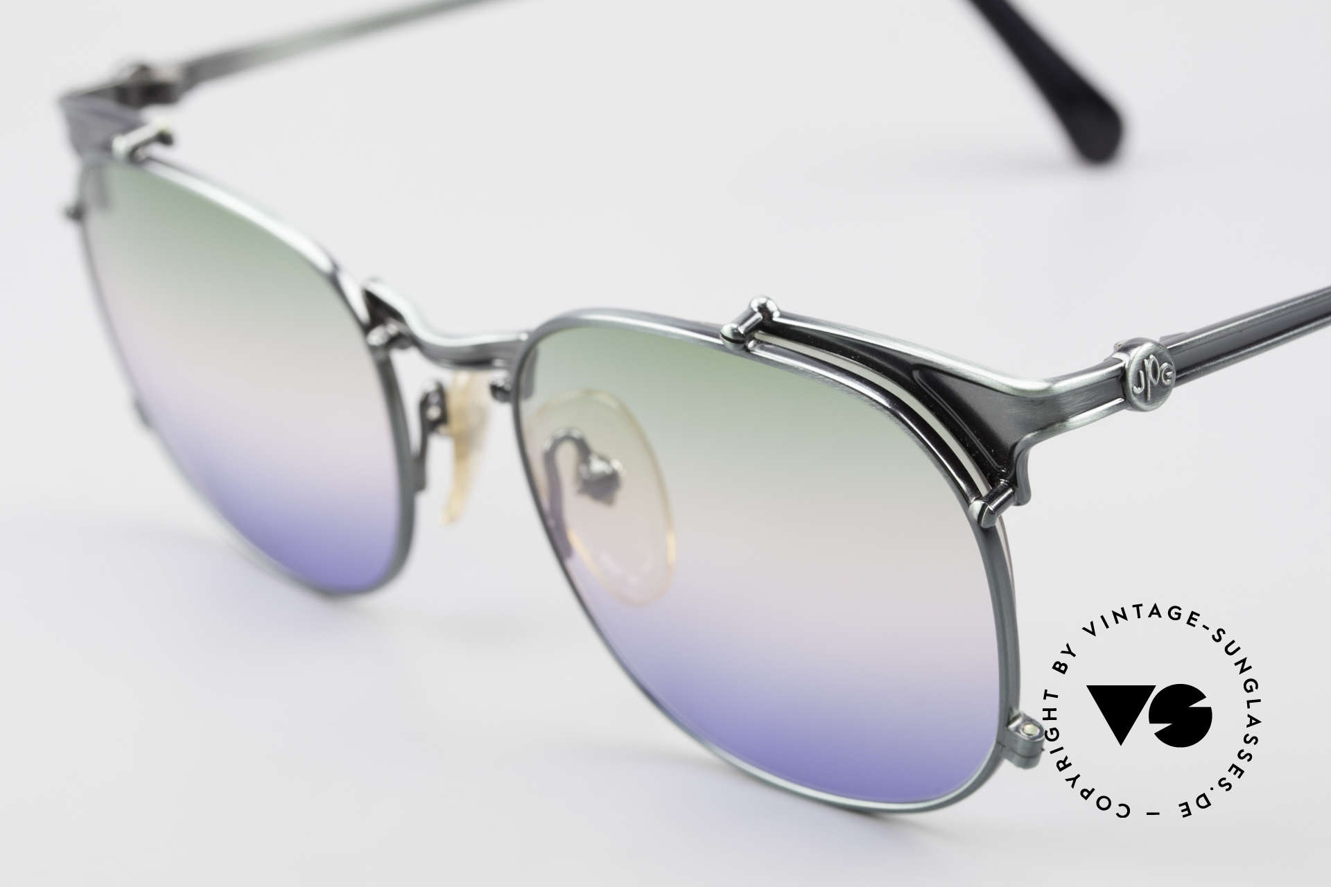 Jean Paul Gaultier 56-2175 Rare Tricolored Sun Lenses, green/rosé/blue coloring; something different!, Made for Men and Women