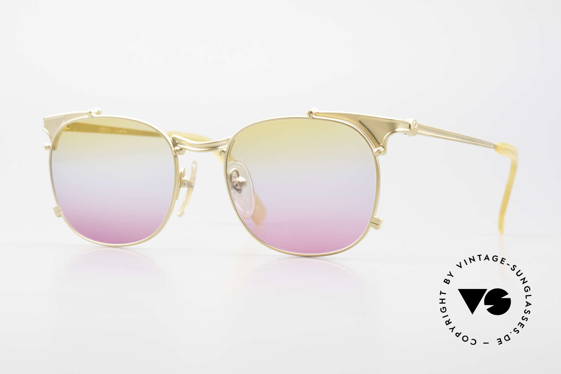 Jean Paul Gaultier 56-2175 Yellow Pink Gradient Lenses, rare vintage JEAN PAUL GAULTIER sunglasses, Made for Men and Women