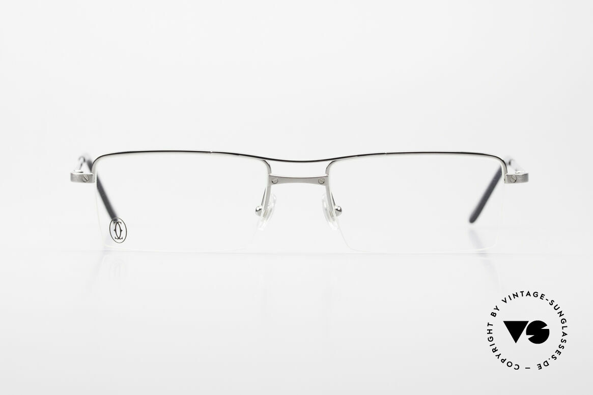 "Cartier Semi T-Double Square Men's Titanium Glasses, model of the ""Semi T"" series; in size 52x18, 135, Made for Men"