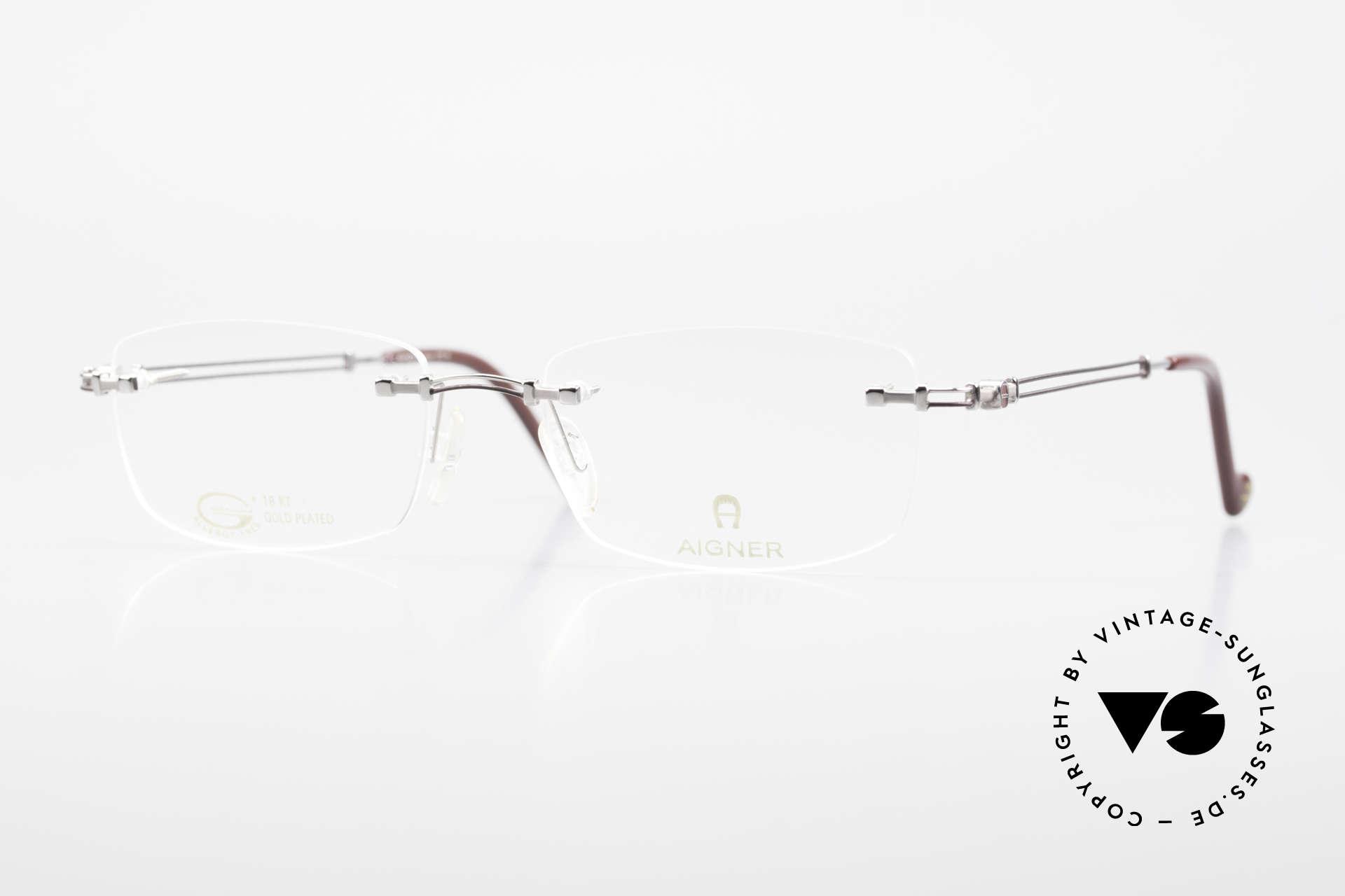 Aigner EA498 Rimless Vintage Glasses 90's, rimless AIGNER vintage glasses, EA498, size 53/18, 140, Made for Men and Women
