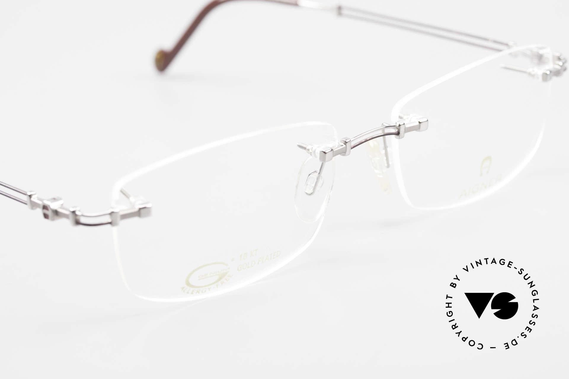 Aigner EA498 Rimless Vintage Glasses 90's, NO RETRO eyeglass-frame; but genuine vintage commodity, Made for Men and Women