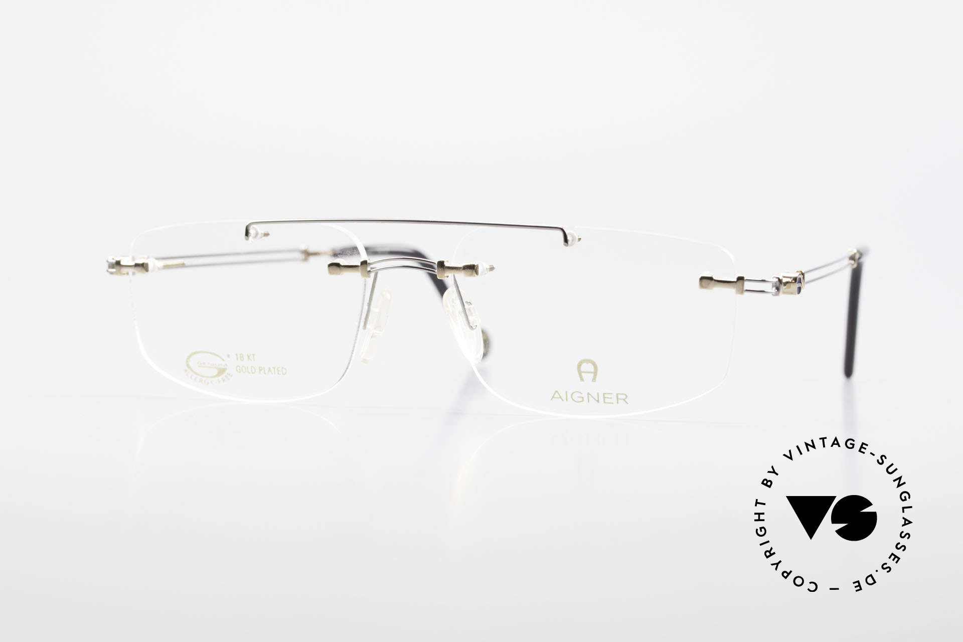 Aigner EA499 Rimless Vintage Glasses Men, rimless AIGNER vintage glasses, EA499, size 54/18, 140, Made for Men