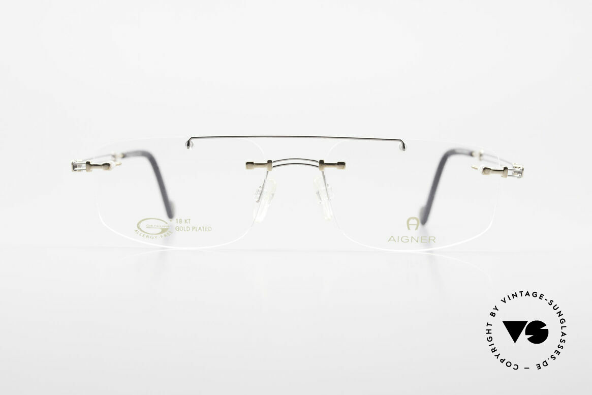 Aigner EA499 Rimless Vintage Glasses Men, 90's original Aigner eyewear in cooperation with Metzler, Made for Men