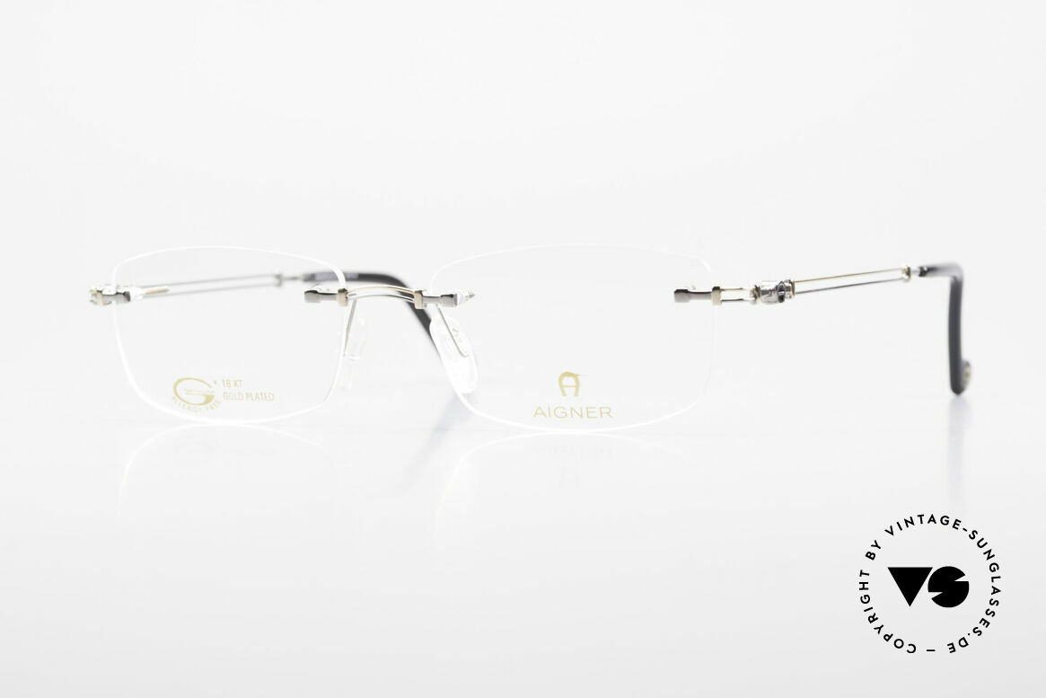 Aigner EA498 Rimless 90's Glasses Unisex, rimless AIGNER vintage glasses, EA498, size 53/18, 140, Made for Men and Women