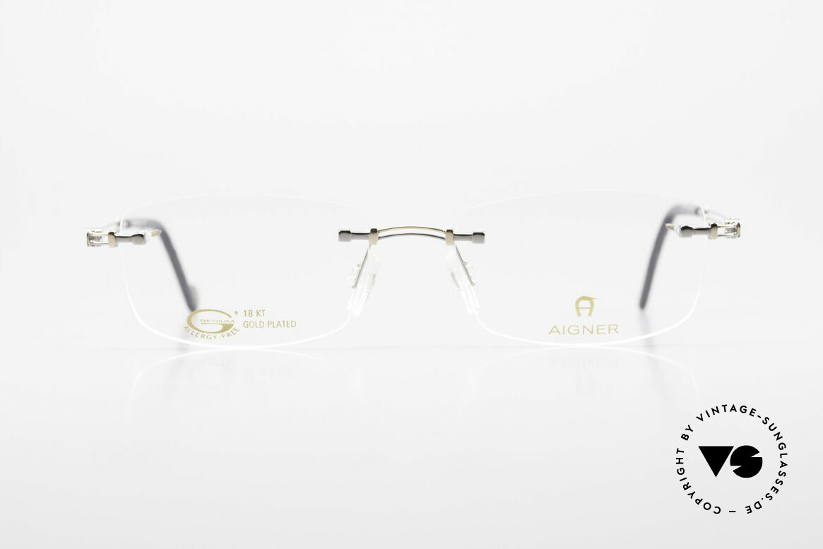Aigner EA498 Rimless 90's Glasses Unisex, 90's original Aigner eyewear in cooperation with Metzler, Made for Men and Women