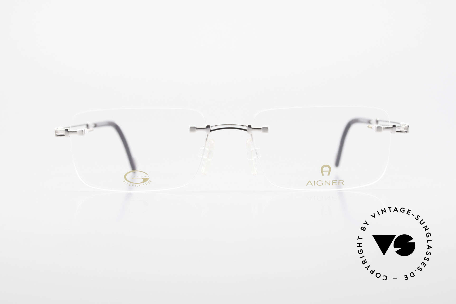 Aigner EA496 Rimless 90's Vintage Glasses, 90's original Aigner eyewear in cooperation with Metzler, Made for Men