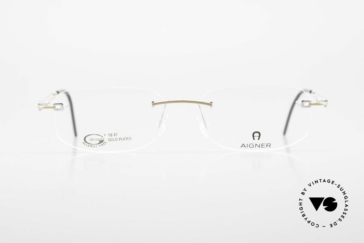 Aigner EA113 Unisex Rimless 90's Glasses, 90's original Aigner eyewear in cooperation with Metzler, Made for Men and Women