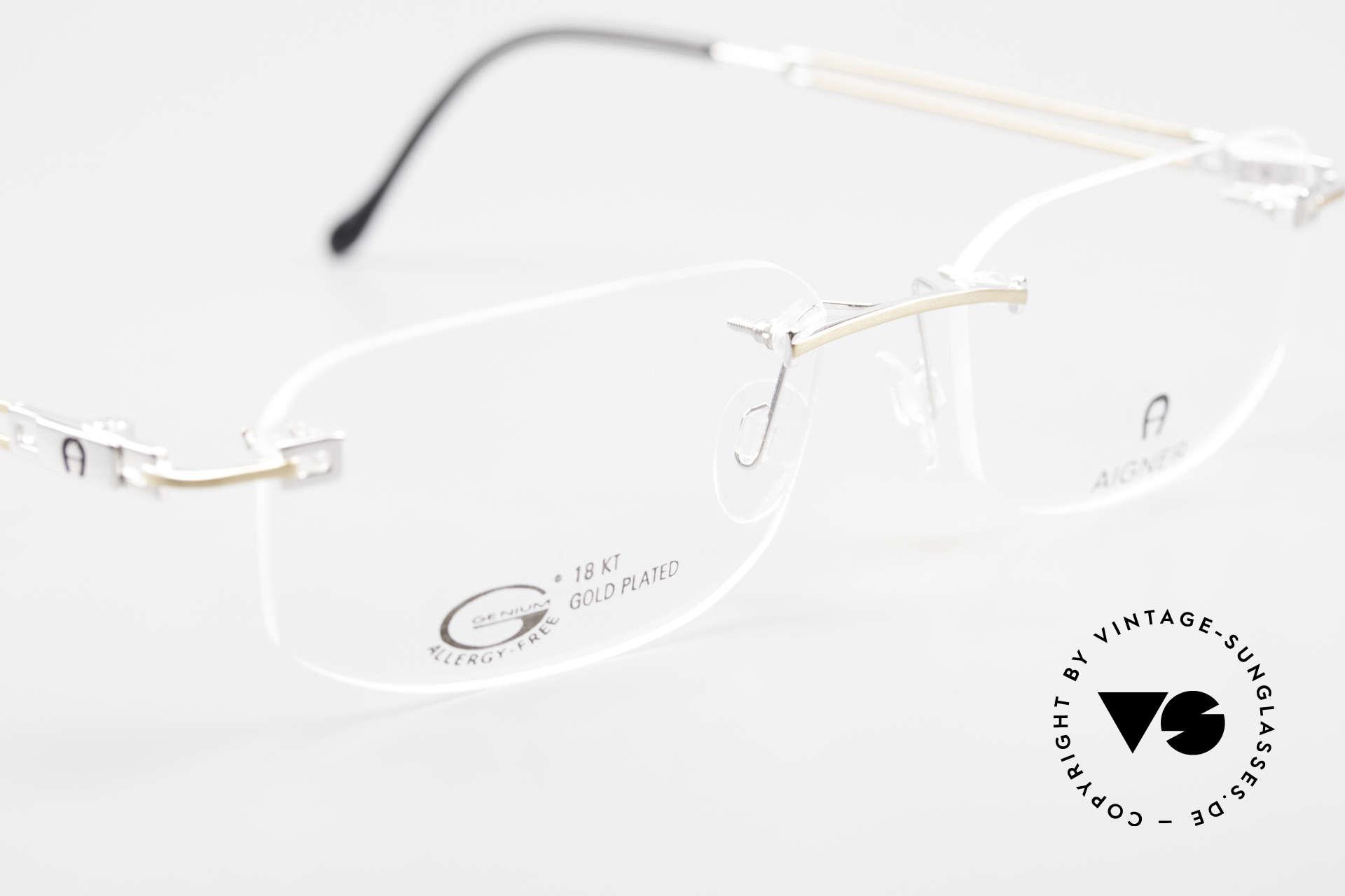 Aigner EA113 Unisex Rimless 90's Glasses, NO RETRO eyeglass-frame; but genuine vintage commodity, Made for Men and Women