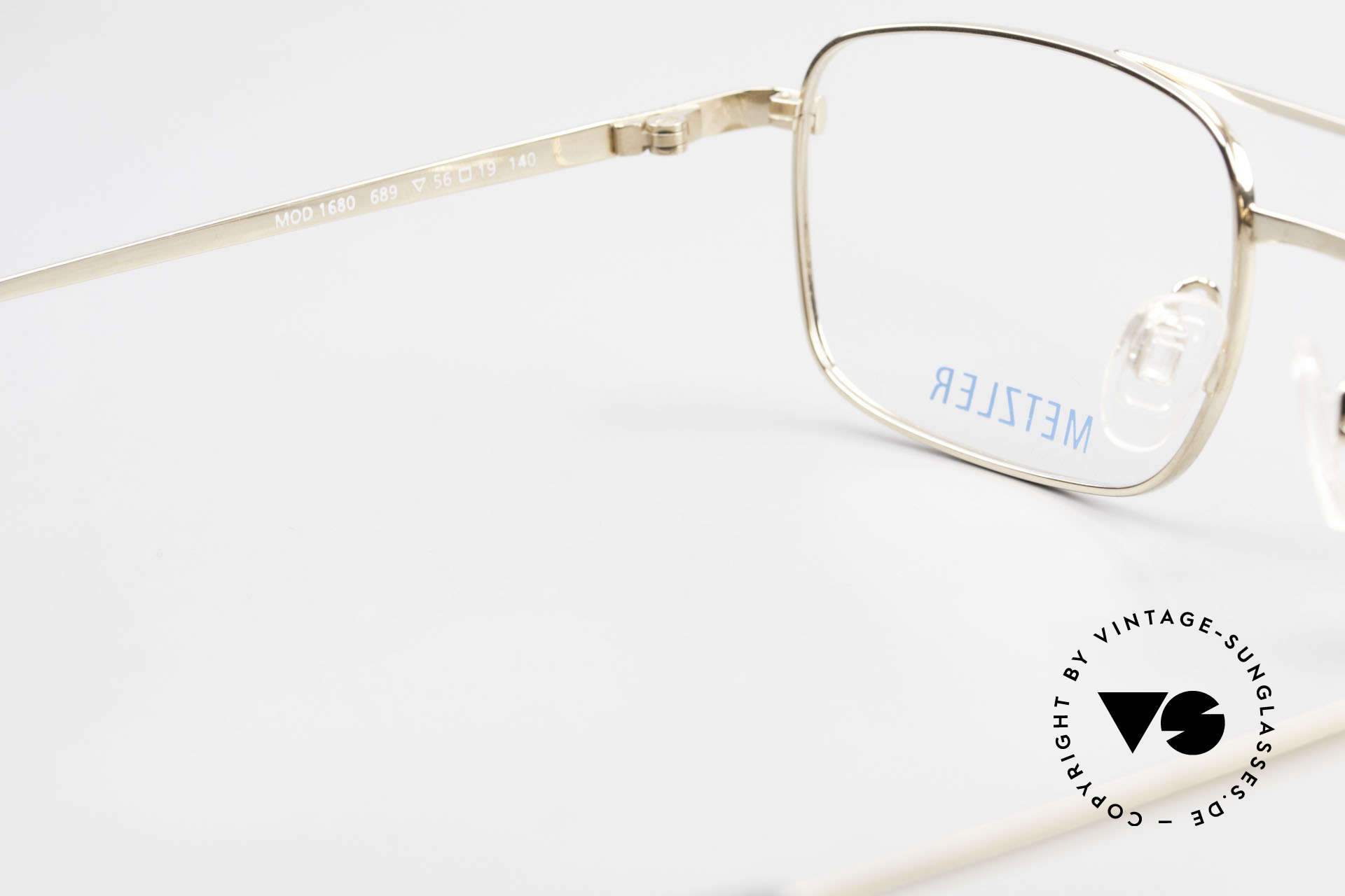 Metzler 1680 90's Titan Frame Gold Plated, the frame can be glazed with optical (sun) lenses, Made for Men