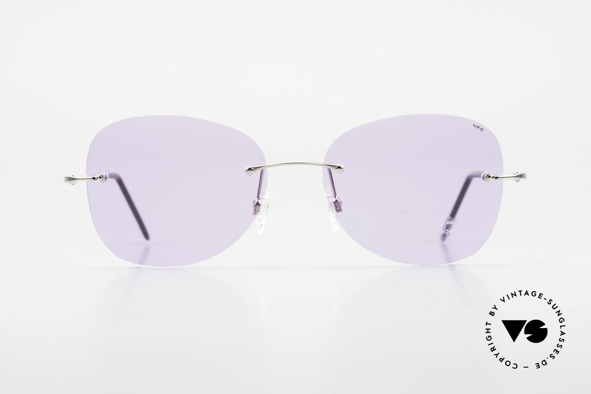 Neostyle Holiday 2051 Rimless XXL Sunglasses Ladies, silver frame with purple lenses; an eye-catcher!, Made for Women