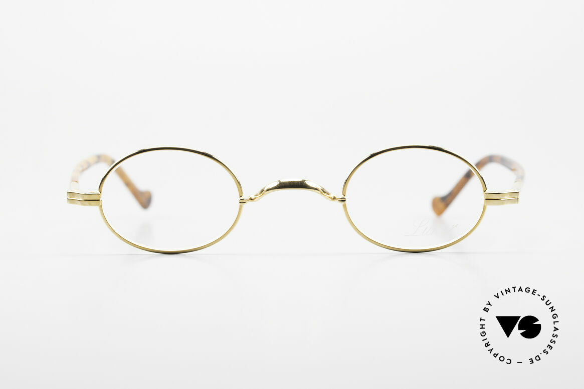 Lunor II A 04 Lunor Glasses Oval Gold Plated, full rim metal frame with sophisticated acetate temples, Made for Men and Women