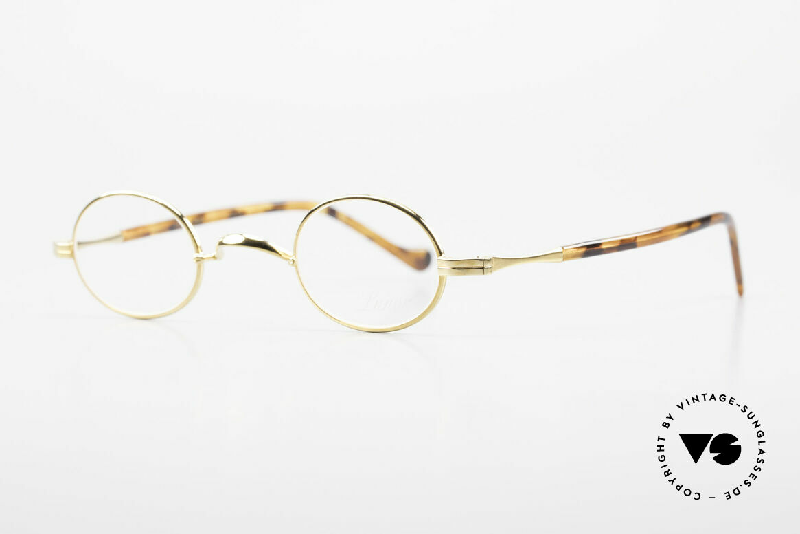 Lunor II A 04 Lunor Glasses Oval Gold Plated, plain design with a W-shaped bridge, 22kt GOLD-plated, Made for Men and Women