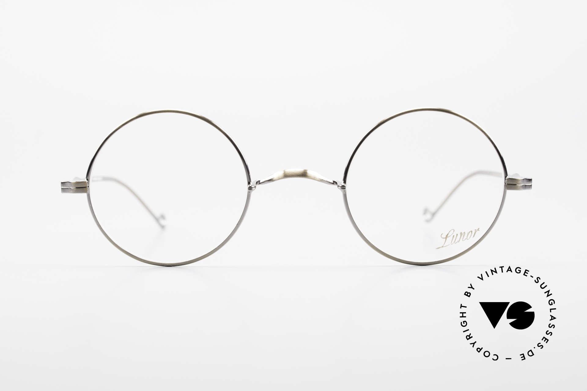 """Lunor II 23 Round Lunor Eyeglass-Frame, full rim metal frame with noble """"antique gold"""" finish, Made for Men and Women"""