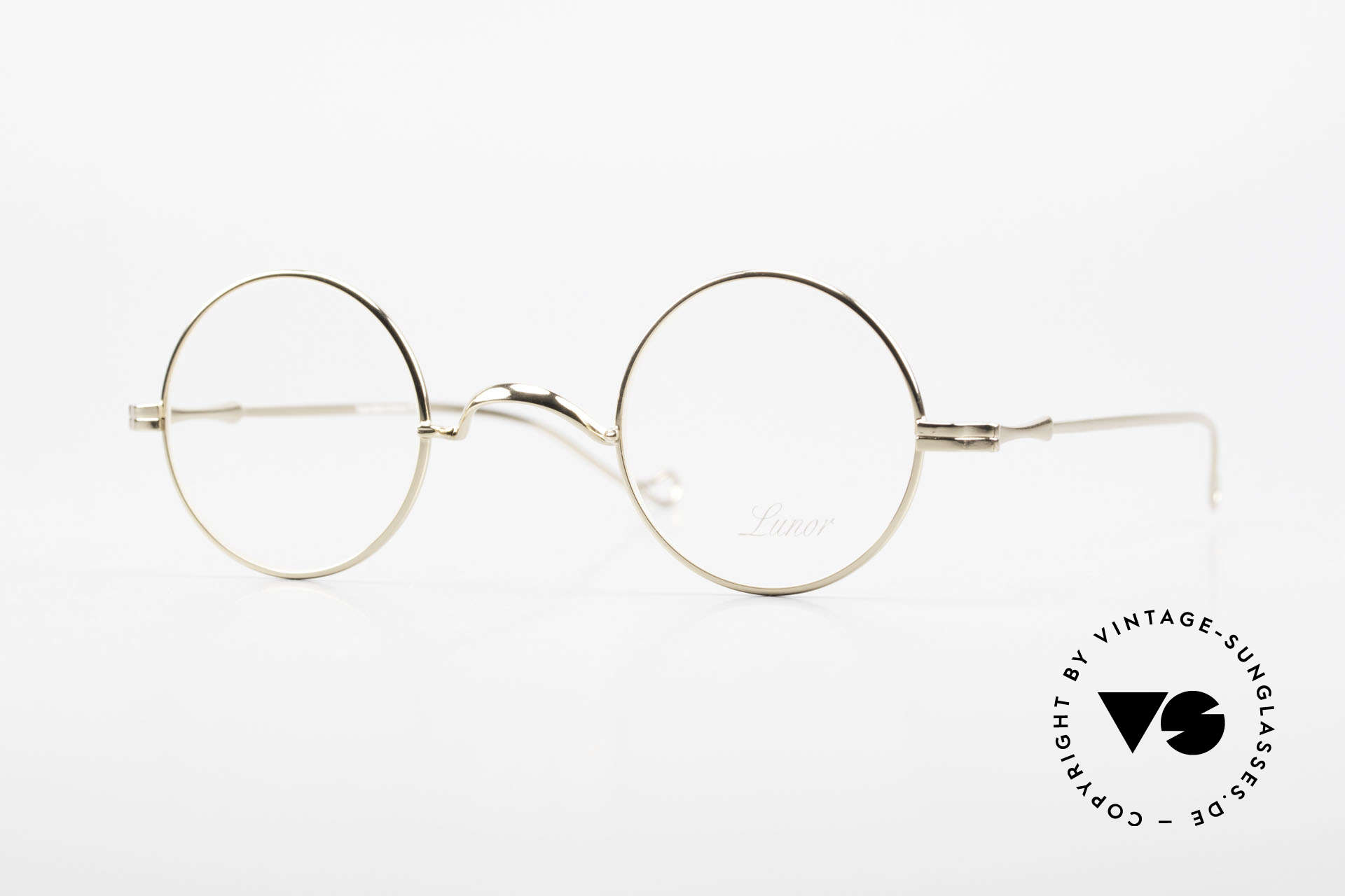 """Lunor II 12 Small Round Gold Glasses, XS round Lunor eyeglasses of the old """"LUNOR II"""" series, Made for Men and Women"""