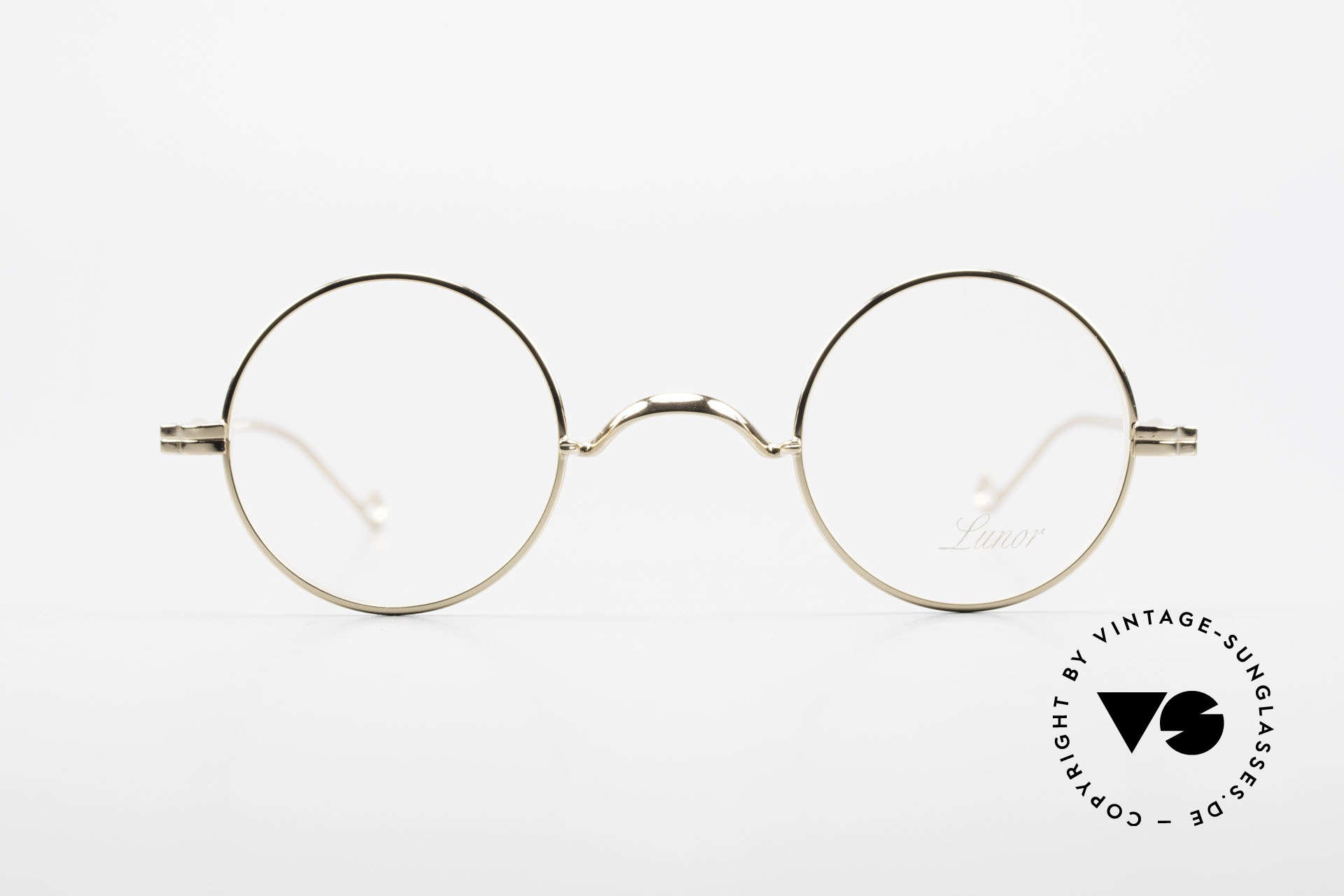 Lunor II 12 Small Round Gold Glasses, full metal rim frame coated with a protection lacquer, Made for Men and Women
