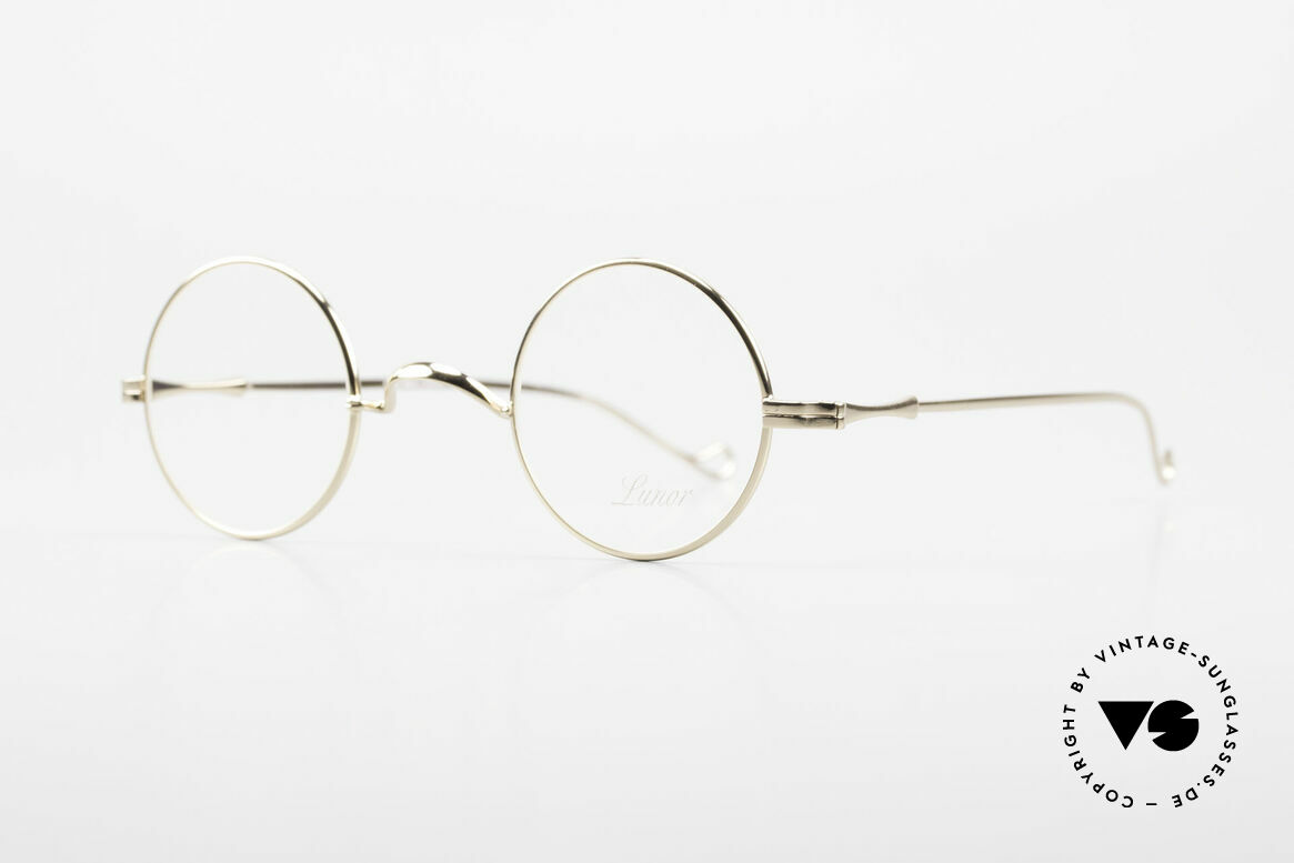 Lunor II 12 Small Round Gold Glasses, the most classic eyewear design, ever: 22ct gold-plated, Made for Men and Women