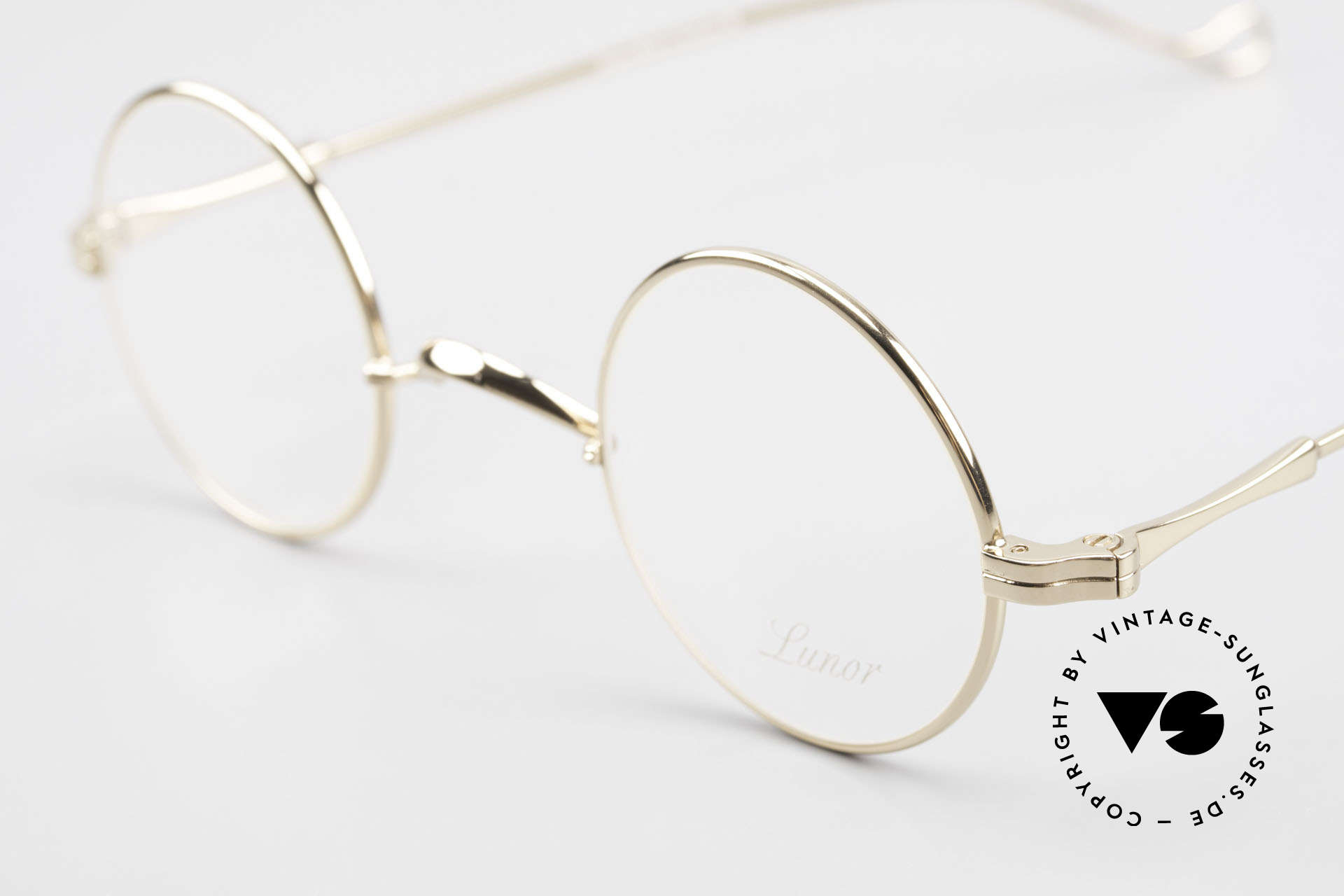 Lunor II 12 Small Round Gold Glasses, noble, classy, timeless = a genuine LUNOR ORIGINAL!, Made for Men and Women