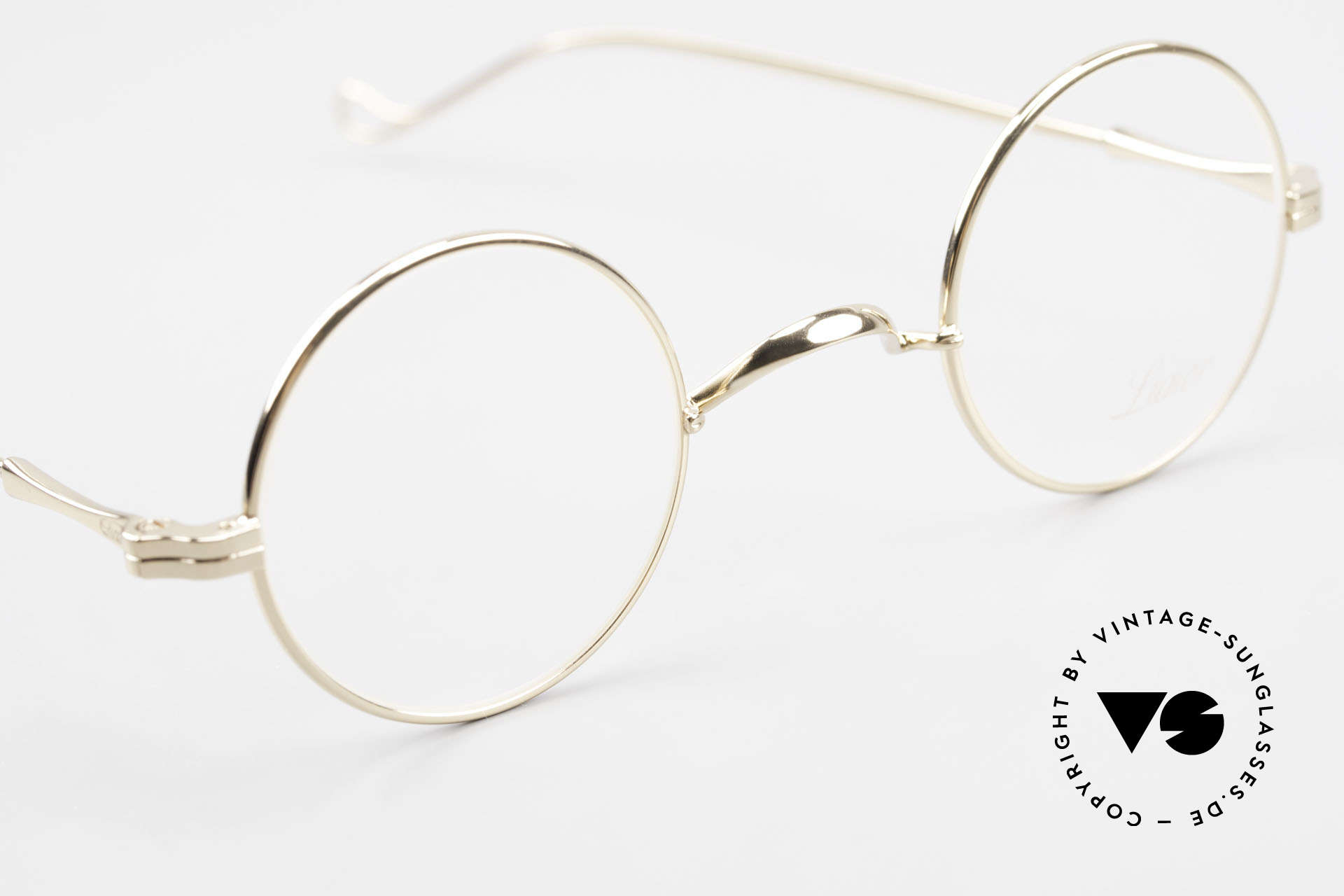Lunor II 12 Small Round Gold Glasses, unworn rarity for all lovers of quality from the late 90s, Made for Men and Women