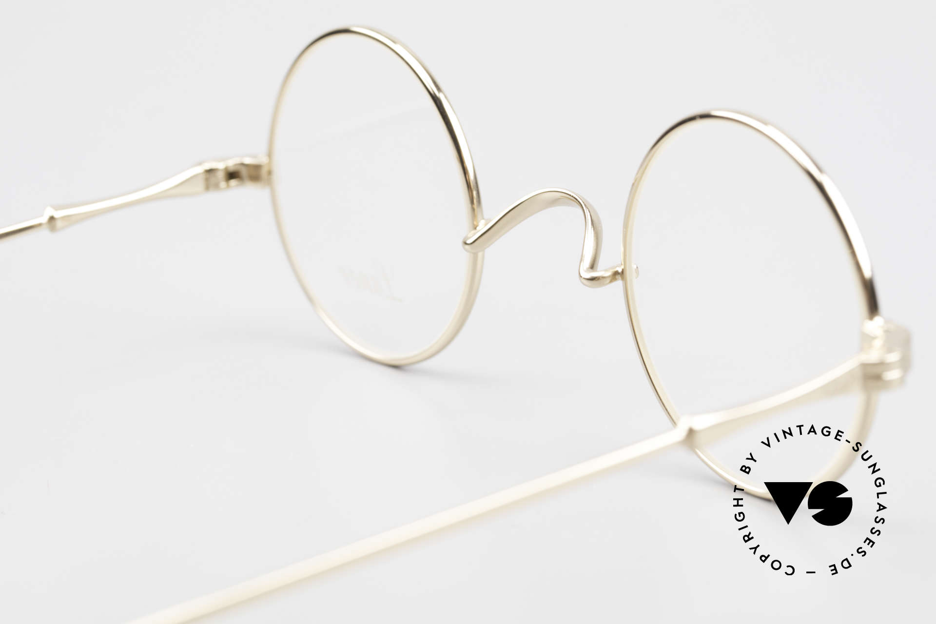 Lunor II 12 Small Round Gold Glasses, this quality frame can be glazed with lenses of any kind, Made for Men and Women
