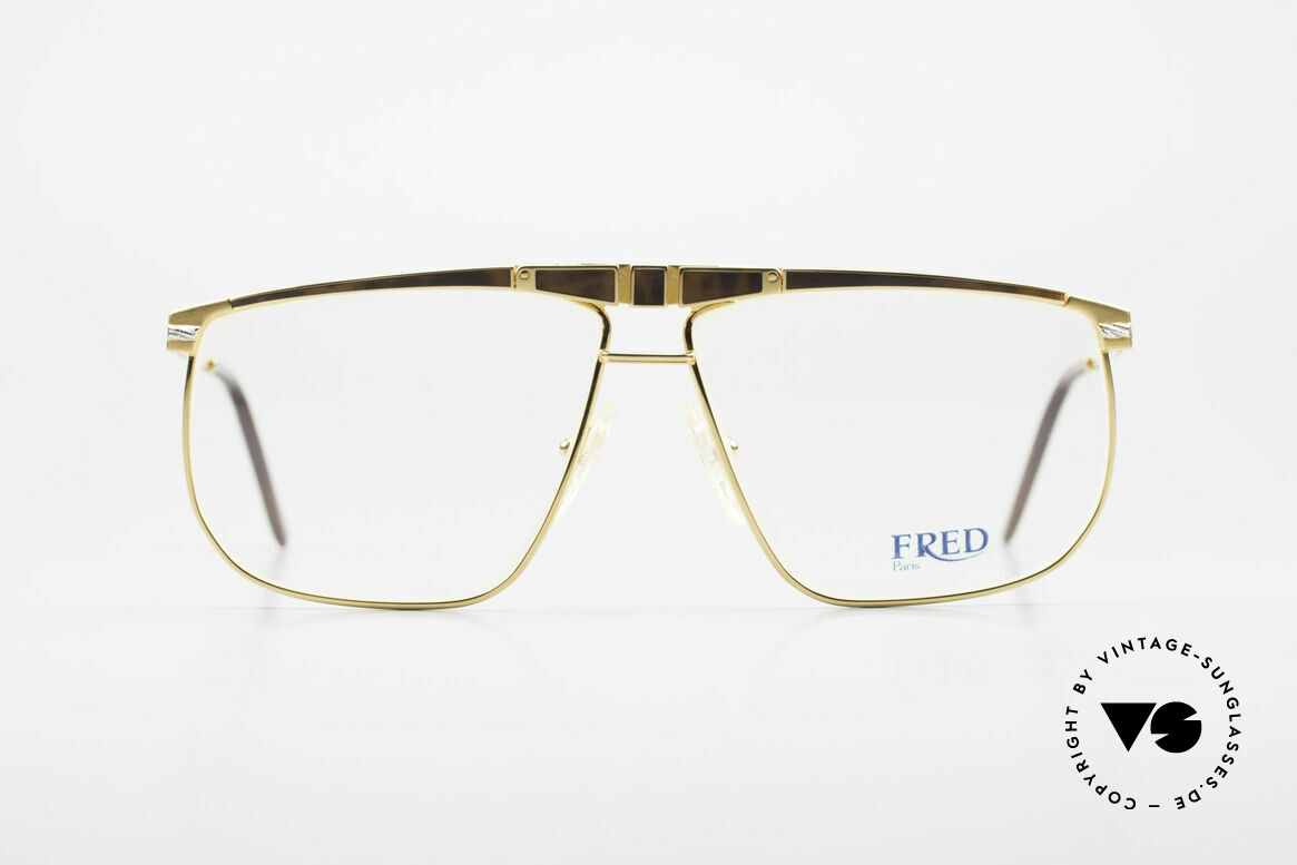 Fred Ocean Men's Luxury Glasses 22kt Gold, marine design (distinctive FRED) in high-end quality, Made for Men