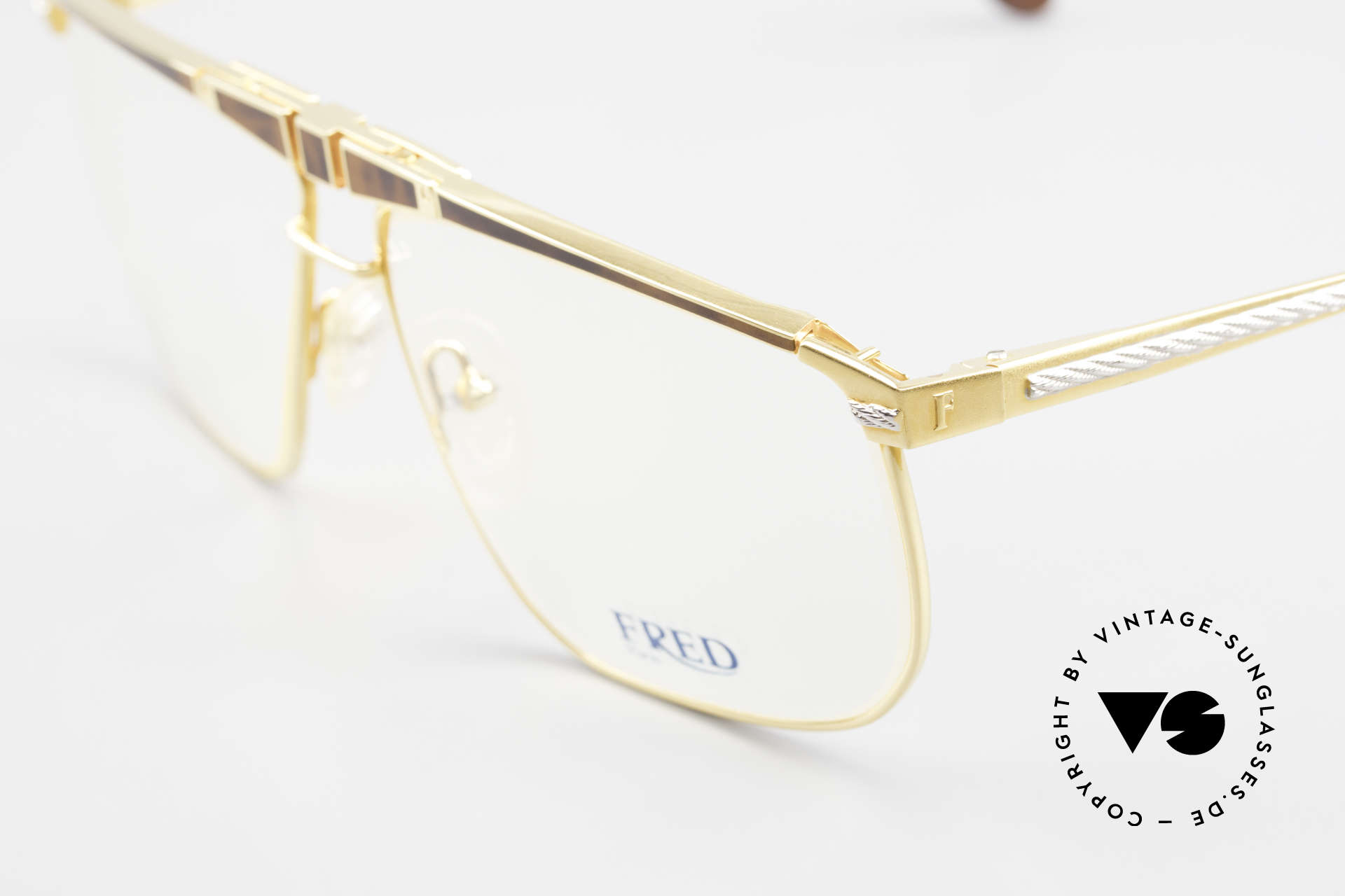 Fred Ocean Men's Luxury Glasses 22kt Gold, with orig. DEMO lenses and origi. OCEAN sun lenses, Made for Men