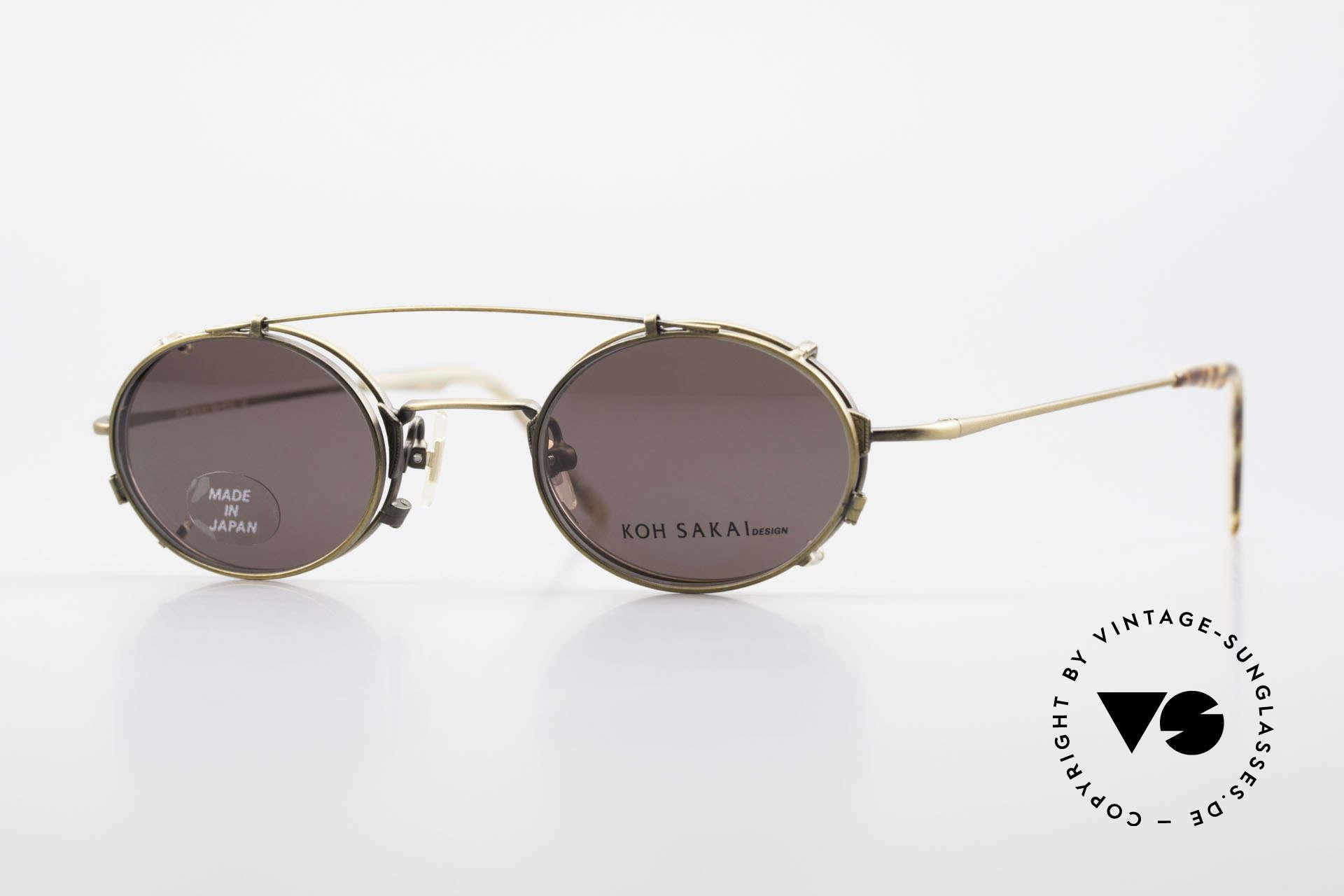 Koh Sakai KS9711 Vintage Glasses Oval Clip On, vintage glasses Koh Sakai KS9711, 43-21, with clip-on, Made for Men and Women