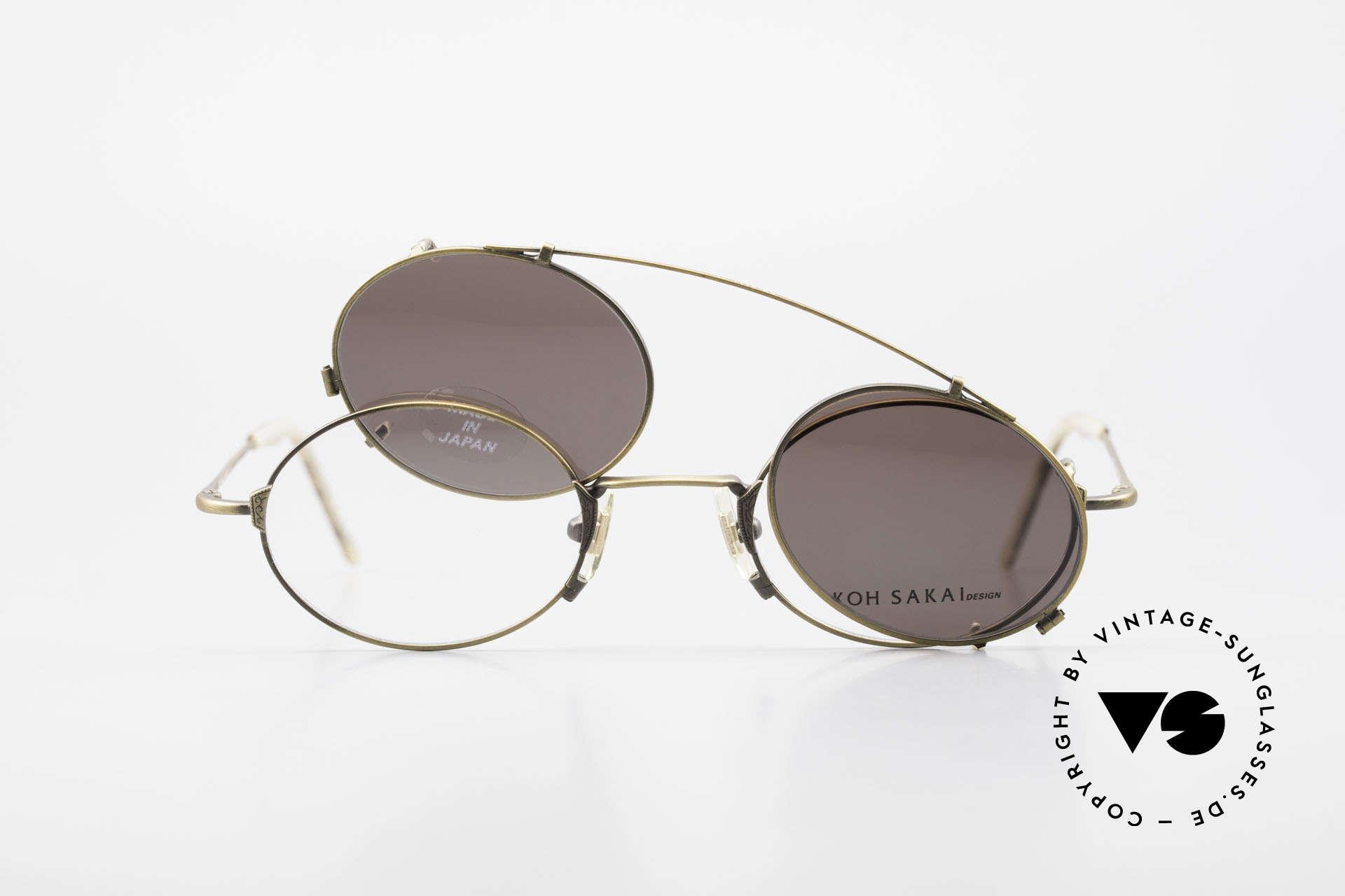 Koh Sakai KS9711 Vintage Glasses Oval Clip On, Size: small, Made for Men and Women