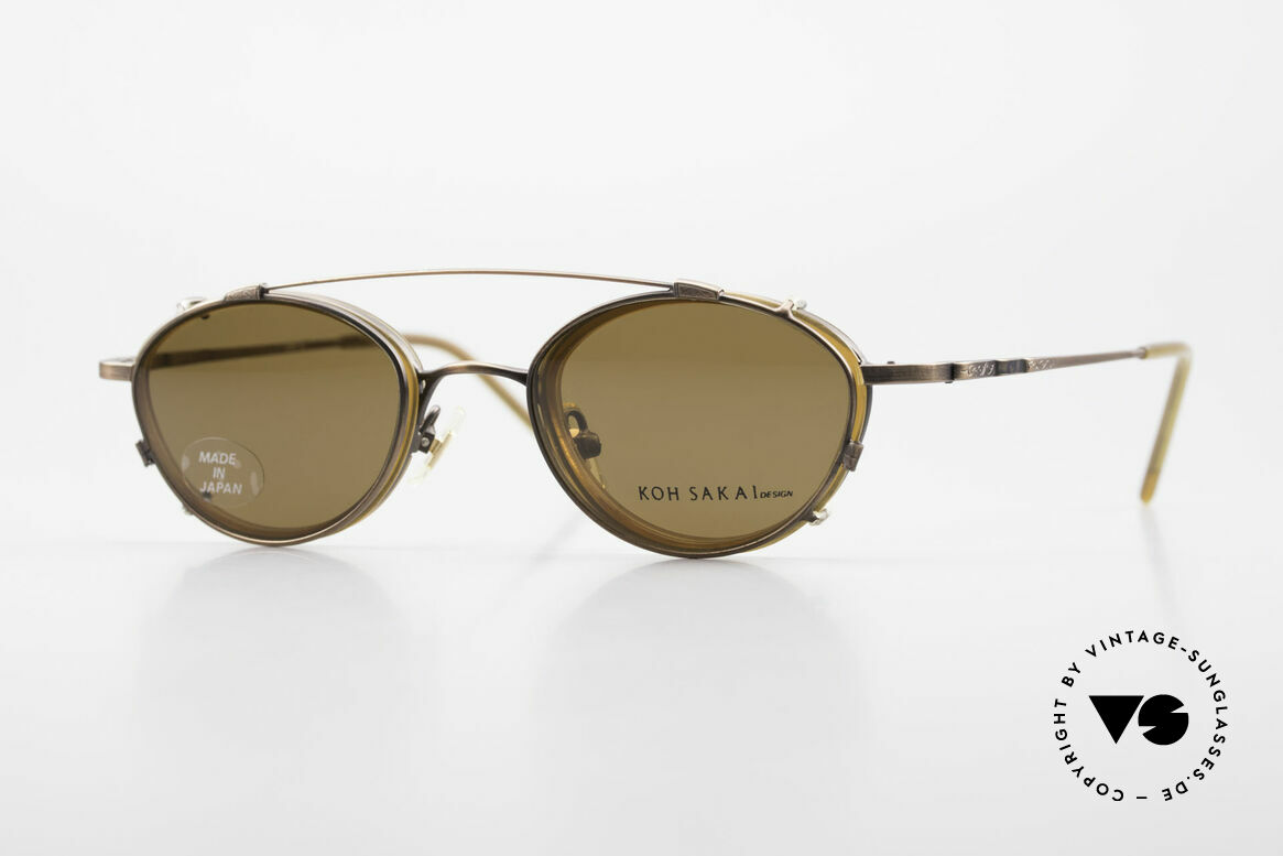 Koh Sakai KS9832 Vintage Glasses With Clip On, vintage glasses Koh Sakai KS9832, 45-21, with clip-on, Made for Men and Women