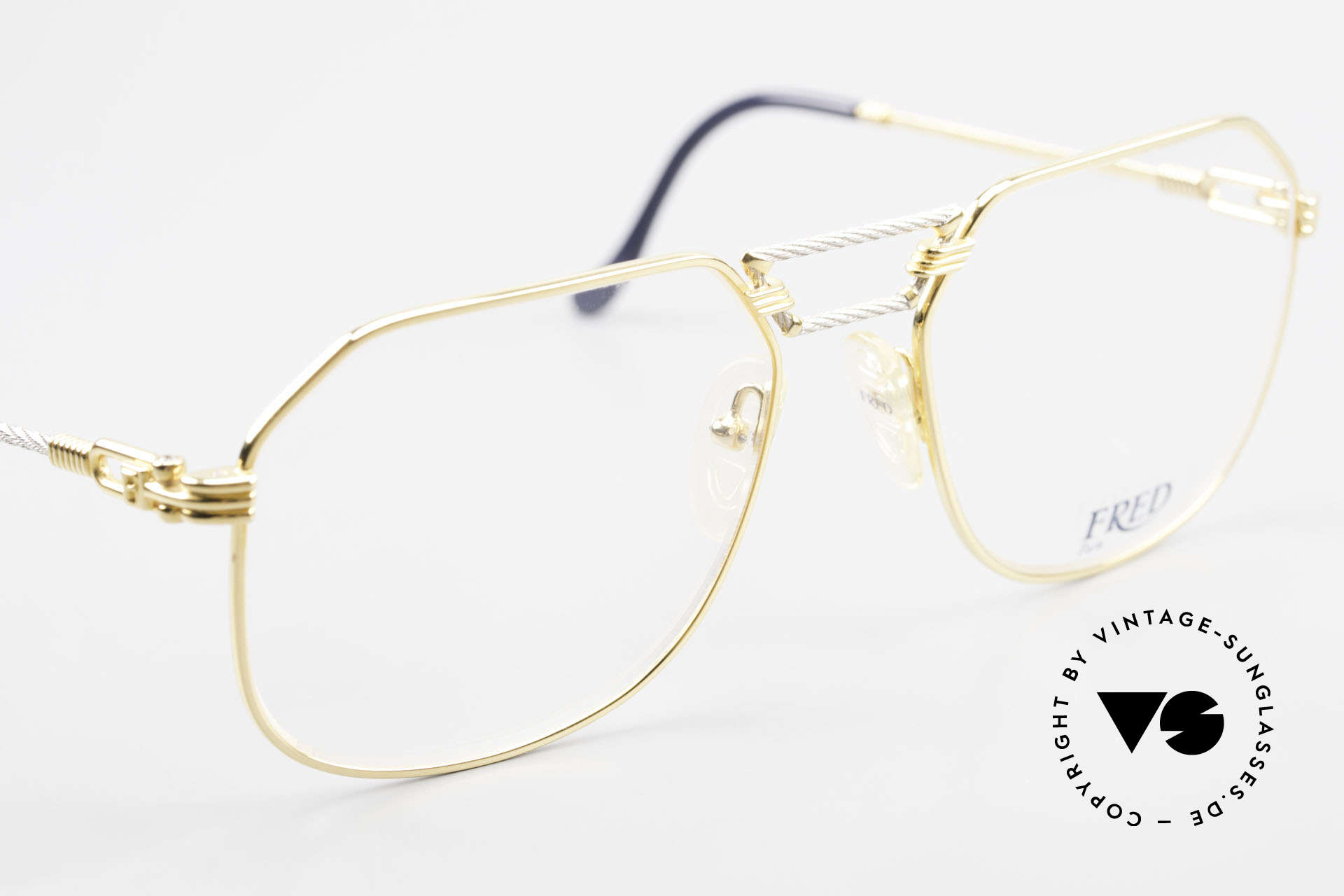 Fred Cap Horn - L Rare Luxury Eyeglasses 80's, precious bicolor edition, Platinum and 23ct gold-plated, Made for Men