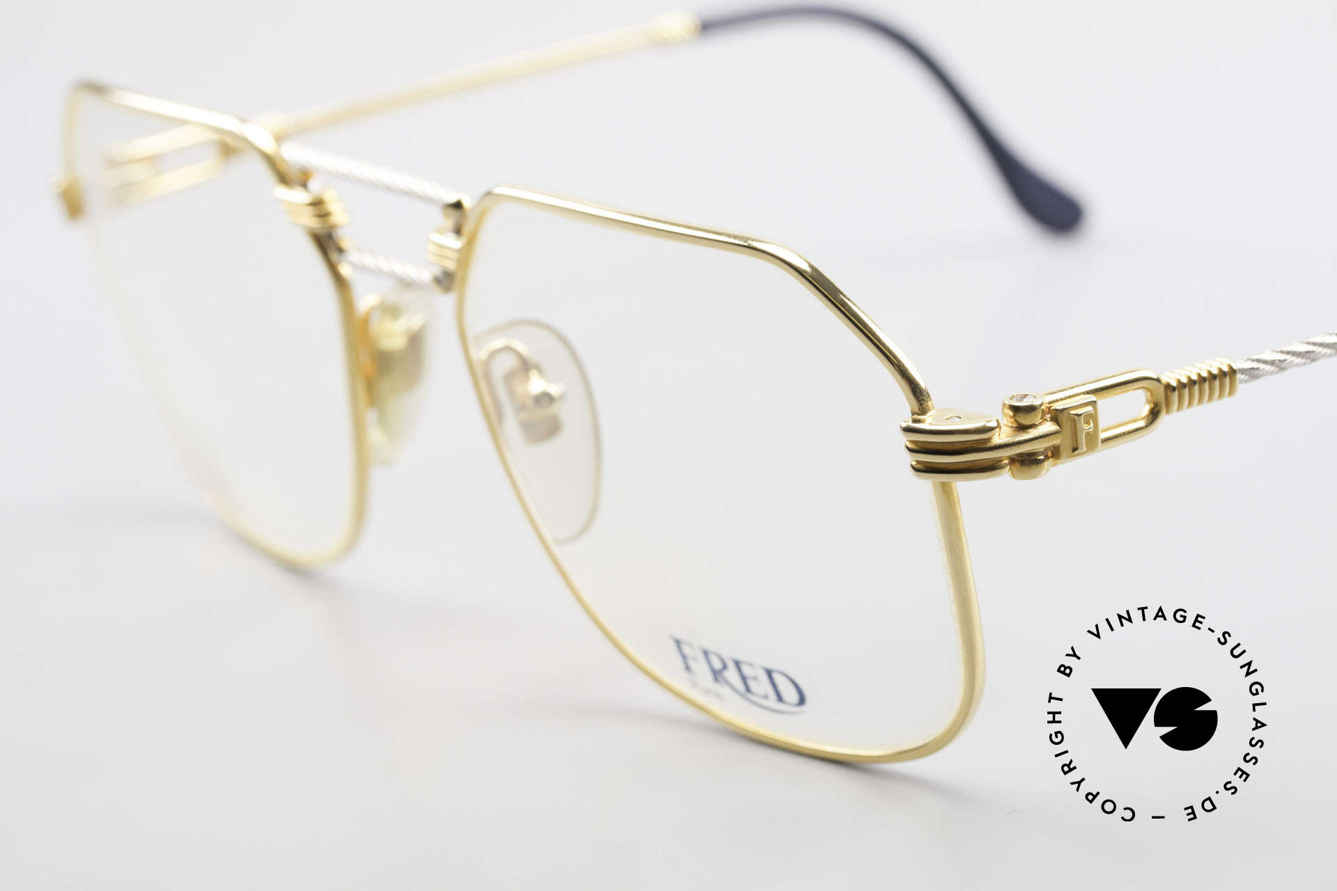 Fred Cap Horn - M Rare 80's Luxury Eyeglasses, temples and bridge are twisted like a hawser; unique!, Made for Men